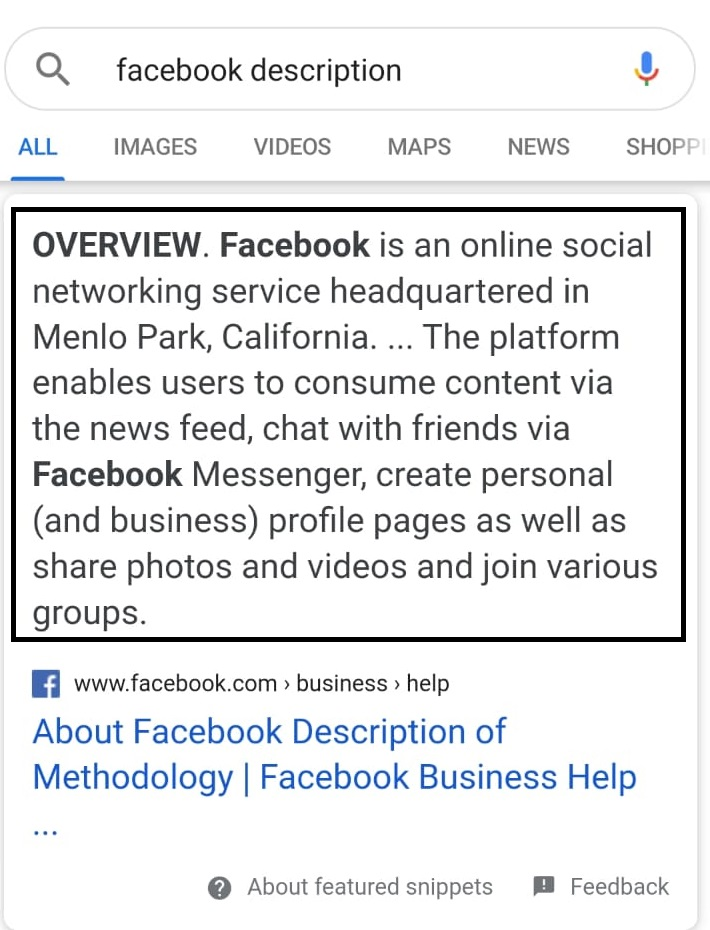 featured snippets pentru facebook description