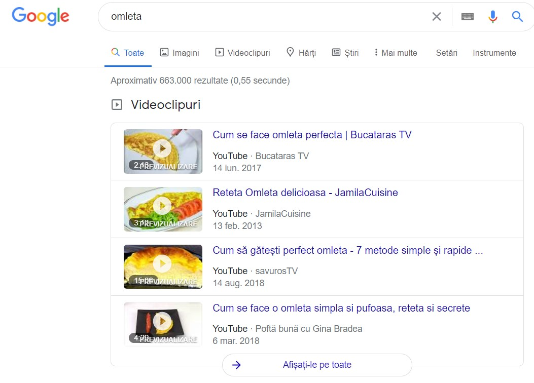 video featured snippets cautare omleta